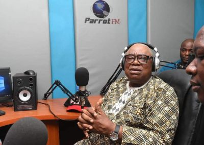 His Excellency Otunba Adebayo Alao Akala live at Parrot FM during 2019 Gubernatorial Campaign